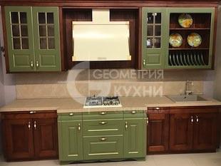 Кухня с фасадами из массива фисташкового цвета