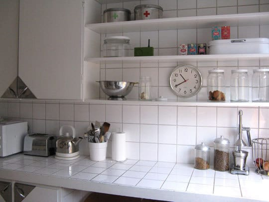 Kitchen worktop ceramic tiles